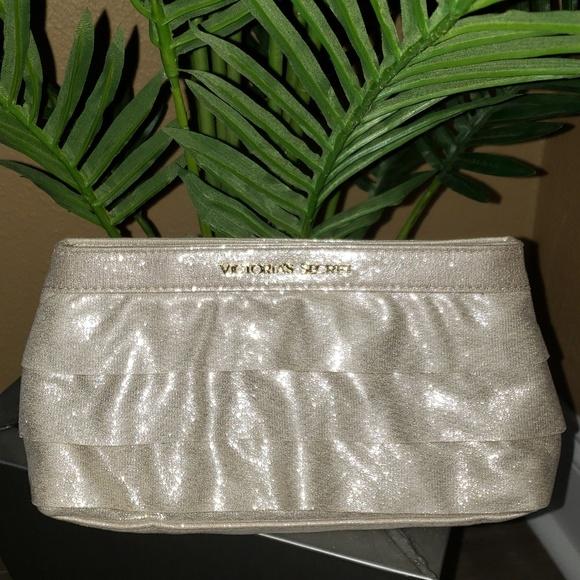 Victoria's Secret Handbags - Victoria Secret Gold Fabric clutch make up case